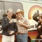 """From the 'Everything-But-Football Tailgate Party' at Three Rivers Stadium in September of 1982 during the players strike. As I recall, the Steelers were to host the San Diego Chargers that day. Sara Lockard is standing with us outside the Rainbow Machine."""
