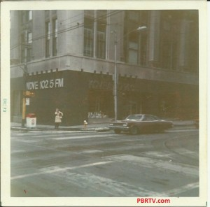 "At the corner of ""Walk and Don't Walk"" (Seventh and Smithfield)  showing WDVE alongside KQV in the Chamber of Commerce Building, Downtown in December 1973."