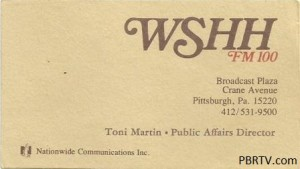 A WSHH business card for Public Affairs Director (do they still have those?!) Toni Martin. As an aside, this particular WSHH logo remained on the front door and the upstairs interior entrance to the studio on Crane Ave. until the studios were moved in 1997.