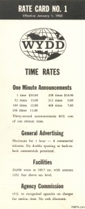 A rate card (#1!) for WYDD New Kensington, January 1963