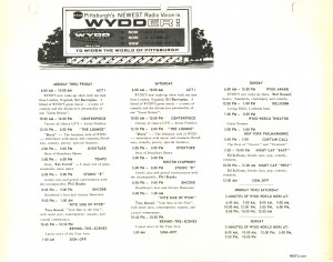A programming schedule for WYDD 104.7 Pittsburgh.