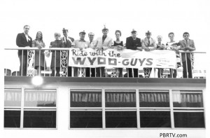 """Ride with the WYDD Guys"" promotion on the Gateway Clipper. In the picture from the left are: 4th from left: Ed Sullivan with WKPA and WYDD; 5th from left: Bill Martin, news; 7th from left: Phil Brooks, ""Studio B""; 8th from left: Misty, ""The Lounge"" 9th from left: Bob Kristof, ""Centerpiece"" and ""Tempo"" 10th from left: Gil Barrington (the Brit) ""Act 1"" morning show host; 13th from left: Tony Mowod, ""The Nite Side of WYDD"""