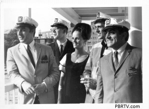 "The WYDD Guys on the Gateway Clipper pose. Left to Right: Gil Barrington, ""Act 1"" morning show; Bob Kristof, ""Centerpiece"" and ""Tempo""; Misty, ""The Lounge""; Phil Brooks, ""Studio B""; Tony Mowod, ""The Nite Side"""